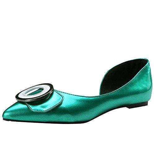 Show Shine Dames Chique Slip Op Flats Loafers Schoenen Groen
