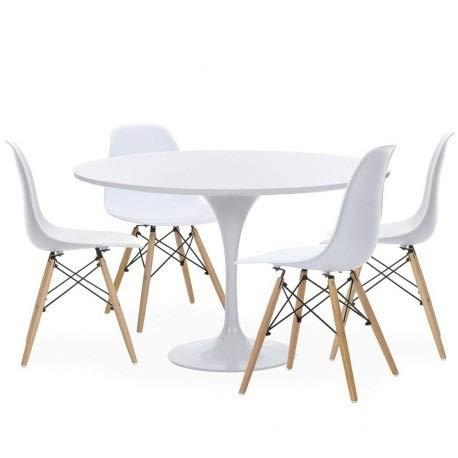 Woopi Conjunto Mesa Zurich 90 + 4 sillas Tower Blancas: Amazon.es ...