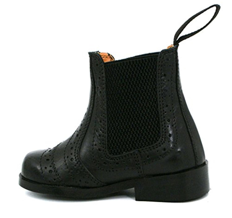 BOYS KIDS INFANTS REAL LEATHER BLACK TAN BROGUE CHELSEA DEALER BOOTS SHOES (UK 12 /, BLACK)