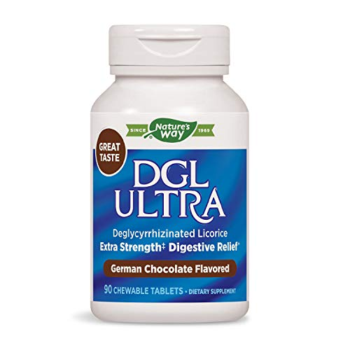 Chewable Licorice Dgl - Nature's Way DGL Ultra Extra Strength Deglycyrrhizinated Licorice, German Chocolate Flavor, Chewable Tablets, Gluten-Free, 90Count