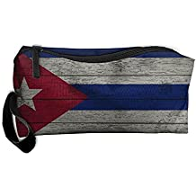 WEEDKEYCAT Flag Of Cuba Old Wood Travel Cosmetic Bag Pen Pencil Portable Toiletry Brush Storage,Multi-function Accessories Sewing Kit Bags Pouch Makeup Carry Case With Zipper