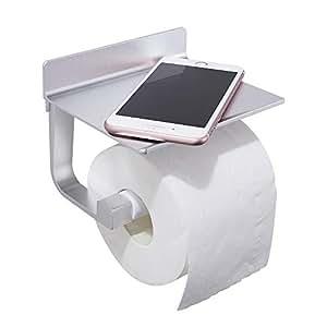 GERUIKE Portarrollos De Cocina Portarrollos Teléfono Móvil Portarrollos de Papel higiénico con Estante Aluminio aeroespacial Adhesivo