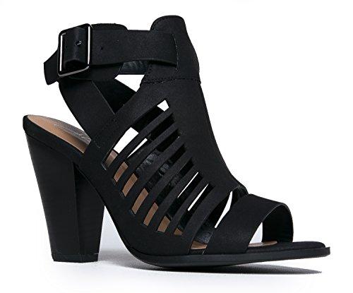 J. Adams Miko Cut Out High Heel Sandal, Black Distressed, 7.5 B(M) US (Shoe Peep Sexy Toe)