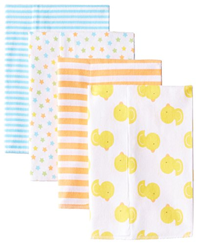 Gerber Baby Newborn Flannel Burpcloths, Unisex, Ducks, Green, One Size, 4 Pack