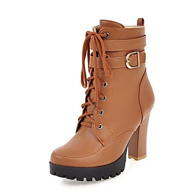 RTRY Women's Shoes PU Fall Winter Comfort Novelty Fashion Boots Bootie Boots Chunky Heel Round Toe Booties/Ankle Boots Lace-up For Office & US5.5 / EU36 / UK3.5 / CN35