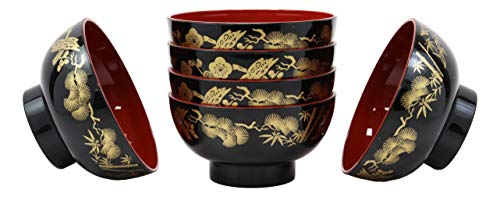 Gold Rice Bowl - Ebros Gift Made In Japan Traditional Botanic Floral Design Black Red And Royal Gold Lacquer Copolymer Plastic Bowl 8oz Set Of 6 For Salad Rice Miso Soup Dessert 4.5