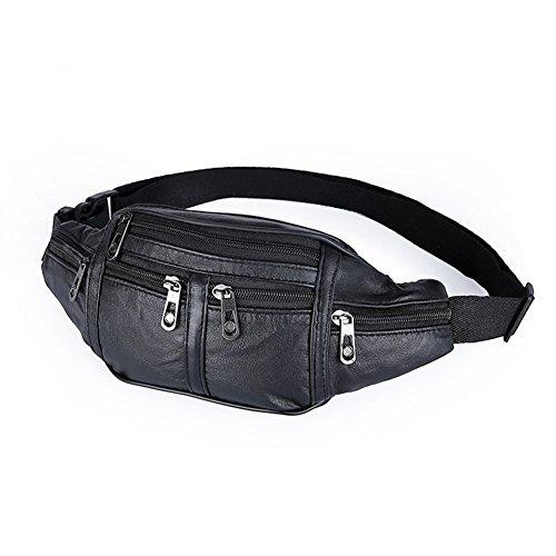 XMCOWAYOU Waist Pack Black Leather Large Size 7 Pockets Fanny - Bape Sunglasses