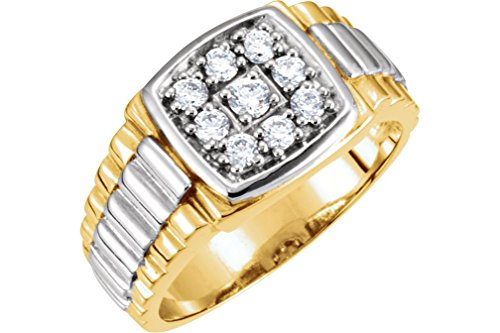 Men's 9-Stone Diamond 14k Yellow and White Gold Ring, 11.5M (.38 Ctw, G-H, I1), Size 9.75 by The Men's Jewelry Store