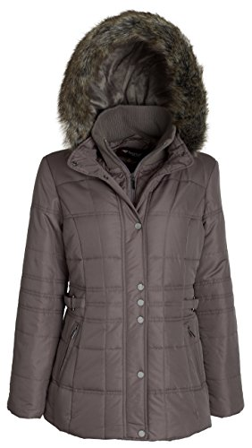 Image result for Roll over image to zoom in      Sportoli Sportoli Women's Longer Length Belted Winter Puffer Coat with Plush Lined Hood