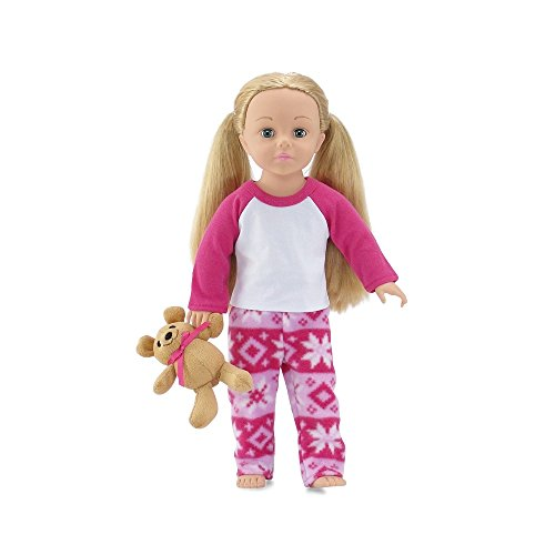 18 Inch Doll Clothes | Cozy Pink and White Snowflake 2 Piece Pajama PJ Outfit with Teddy Bear | Fits American Girl Dolls | Gift - Bear Snowflake Teddy