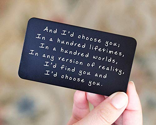 Anniversary Gifts for Men - Engraved Wallet Inserts - Perfect Birthday Gifts for Men in 2019! Metal Wallet Card Love Note, Anniversary Gifts for Men, Boyfriend, Husband Gifts from ()
