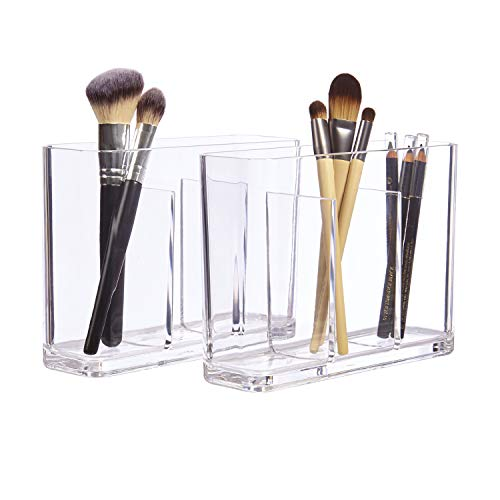 STORi Bliss 3-Compartment Makeup Brush Holder | set of 2 Clear