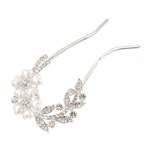 Botrong Bridal Wedding Rhinestones Crystals Pearl Hairpin Hair Clip Jewelry (Rhinestones Full Snap Zebra)