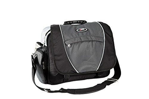 Everest Xtreme Deluxe Laptop Messenger Bag, Charcoal/Silver/Black, One Size