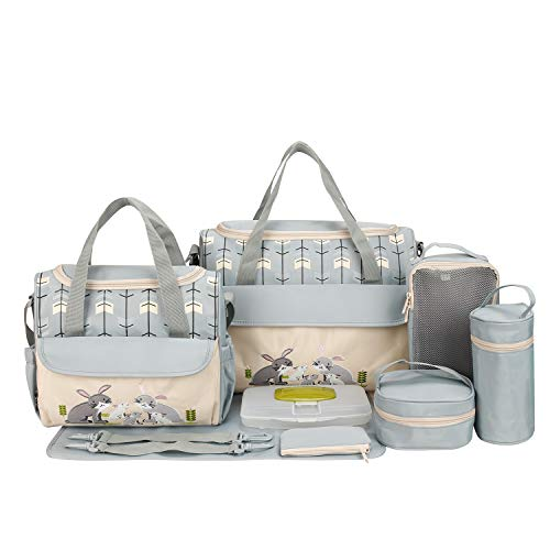 SoHo Diaper Bag Gray Rabbits 10 pcs Nappy Tote Stylish Bag for Baby mom dad Stylish Insulated Unisex Durable Multifunction Large Capacity Includes Changing pad Stroller Straps Gray with Rabbits