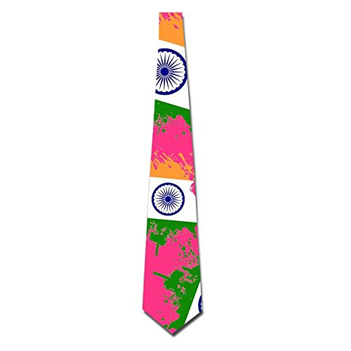 Flag Of India Men Fashionable Printed Neckties Eco-friendly One Size Neckties For Wedding - Tie India