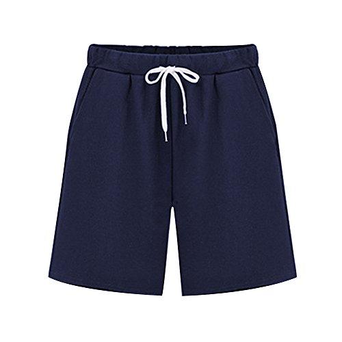 (Women's Elastic Waist Soft Knit Jersey Bermuda Shorts with Drawstring Navy Blue Tag XXL-US 8-10)