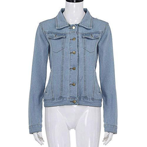 Tendenza Outwear Giacca Anaisy Denim Autunno Jeans Primaverile Donna Giovane Maniche Blu Elegante Fashion Stile Cappotto Fidanzato Lunghe Tempo Libero Blau Women Cavo qH4HZ