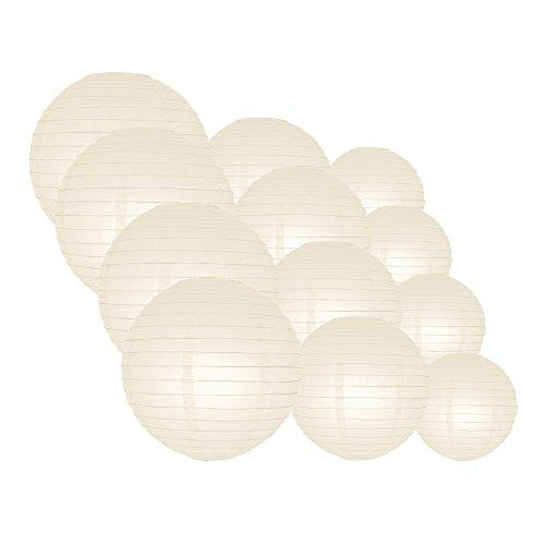 "Quasimoon Evp-BG-CP12 Paper Lanterns 12pcs Pack (8""), 12/10/8 Inch Even Ribbing, Beige / Ivory, 12 Piece"