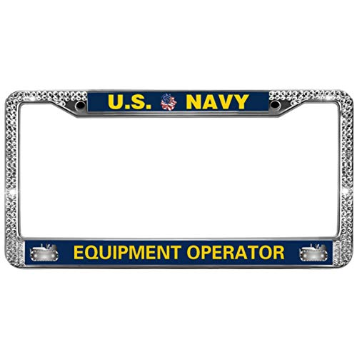 GND US Navy Equipment Operator License Plate Frame for Women,United States Navy Crystal Bling Metal Chrome License Plate Frame Diamond Bling for US Cars