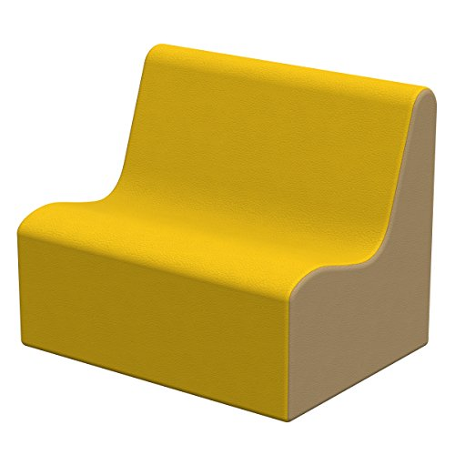 ECR4Kids Softzone Toddler Wave Sofa, Ergonomic Chair for Kids - Yellow/Sand by ECR4Kids
