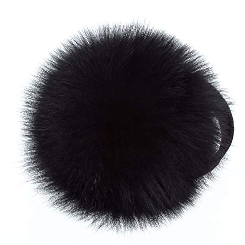 Surell Fox Fur Earmuff with Velvet Band - Winter Ear Muffs - Cold Weather Head Warmer (Black)