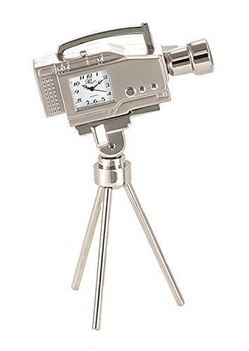 "Sanis Enterprises 5.5"" X 3.25"" Silver Camcorder Clock, 5.5"" by 3.25"" - Measures 5.5"" X 3.25"" Made of zinc alloy metal Japan Movement - clocks, bedroom-decor, bedroom - 41S9WwlpDIL -"
