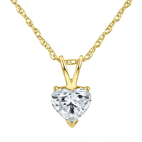 Heart Shape Diamond Solitaire Pendant Necklace Set in 14k Gold H-I I1 IGI Certified (Yellow-Gold, 0.47) ()