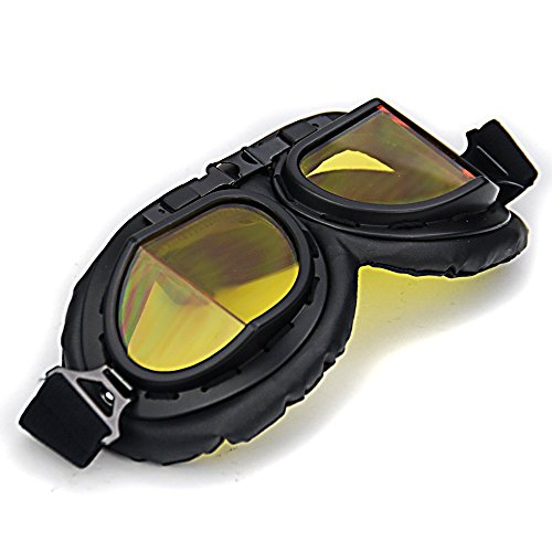 Retro Style Steampunk Pilot Style Motorcycle Goggles UV Protection Cycling Motorcycle Biker Moto Bike Biker Eyewear Windproof Powersport Sport Glasses Goggles Black Frame Safety Glasses - Website Eyewear