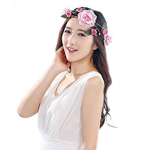 [Vivivalue Floral Garland Flower Wreath Headband Crown Hade-made with Ribbon Boho for Festival Wedding] (Hades Child Costume)
