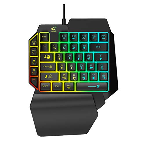Elevin(TM)  T15 Wired Gaming Keypad with LED Backlight 39 Keys One-Handed Membrane Keyboard]()