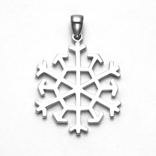 Wild Things Sterling Silver Polished Finish Twelve Sided Snowflake Pendant