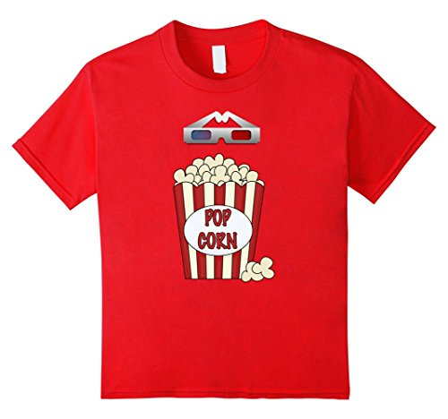 [Kids Popcorn - Funny Last Minute Halloween Costume T-Shirt 10 Red] (Top 10 Last Minute Halloween Costume Ideas)
