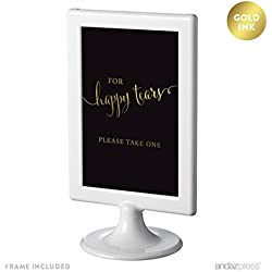 Andaz Press Wedding Framed Party Signs, Black and Metallic Gold Ink, 4x6-inch, For Happy Tears Tissue Kleenex Ceremony Sign, Double-Sided, 1-Pack, Includes Frame