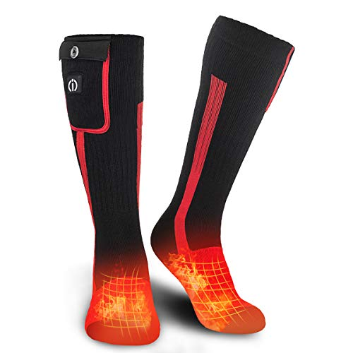 SUNWILL Heated Socks for Men Women,7.4V 2200mah Electric Rechargeable Battery Warm Winter Socks,Cold Weather Thermal Heating Socks Foot Warmers for Hunting Skiing Camping Hiking Motorcycling