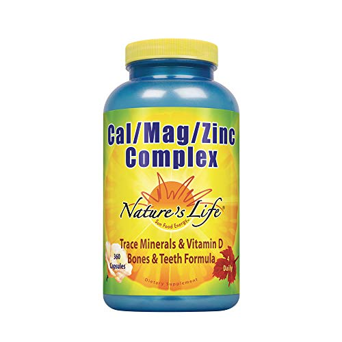 Nature's Life Cal Mag Zinc Complex | 100% Daily Value of Calcium, Magnesium, Zinc & VIT D3 for Bone & Heart Health Support | 360 Vegetarian Capsules