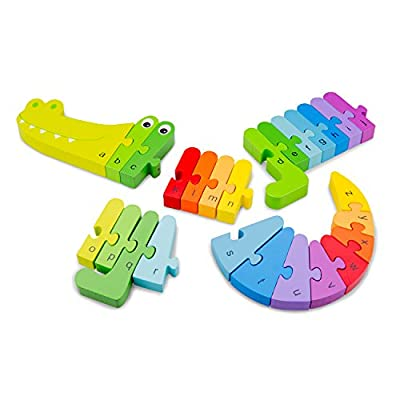 New Classic Toys Alphabet Puzzle Crocodile Educational Wooden Toys for 3 Year Old Boy and Girl Toddlers Learn The Alphabet: Toys & Games
