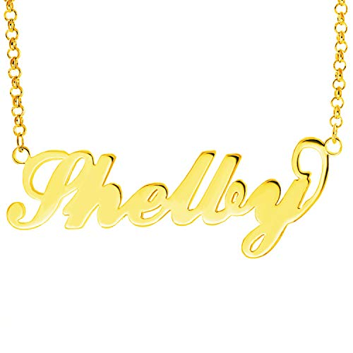 HACOOL Name Plate Necklace Custom Name Necklace Customized Necklace with Any Names in 14K Gold/Silve/Rose Gold Jewelry for Women Shelby in Gold
