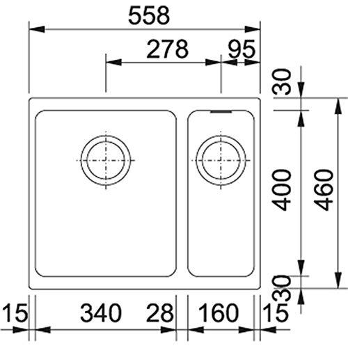 Black, 2/Bowls, 340/x 400/mm, 20/cm, 160/x 400/mm, 13/cm /Kitchen sinks Franke KBG 160/