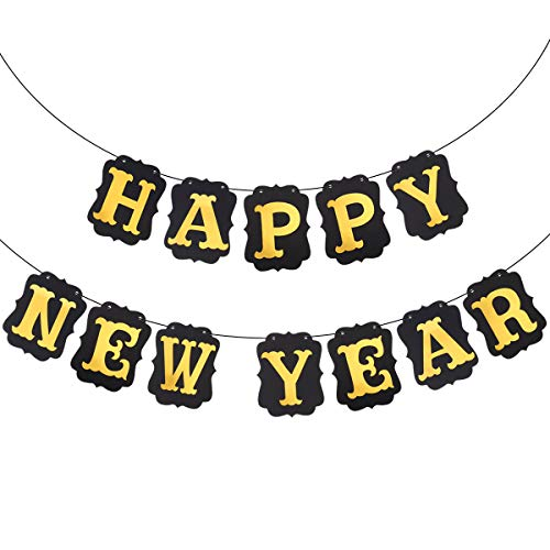 BESTOYARD Happy New Year Streamer Paper Banners 2018 New Year Decorations Hanging Banner Gold Signs for New Year Party Decorations (Black Banner Golden -