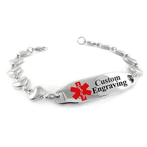 My Identity Doctor Custom Engraved Medical Alert Bracelet for Women Steel Heart 6mm