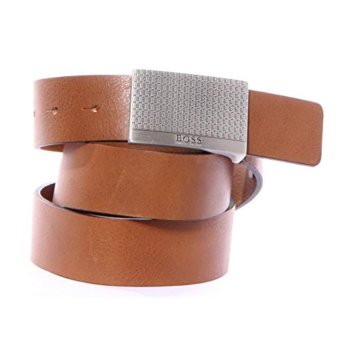 BOSS Orange Men's Joel Leather Plaque Buckle Belt, Medium Brown, - Belt Leather Plaque Buckle