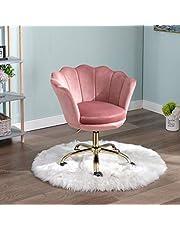 Wahson Velvet Home Office Stoel Swivel Stoel Hoogte Verstelbare Taakstoel met Gouden Base, Bureaustoel voor Slaapkamer/Vanity Roze)