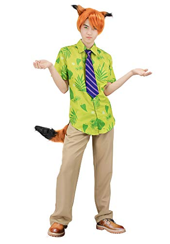 DAZCOS Adult US Size Fox Nick Wilde Cosplay Costume with Tie Ears Tail (Men L) Green]()