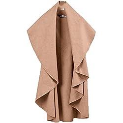 YUNY Womens Cardigan Solid Cape Winter Sleeveless Pea Coat Vest Light Tan XL