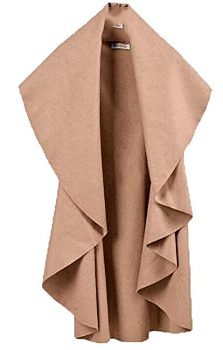 YUNY Womens Cardigan Solid Cape Winter Sleeveless Pea Coat Vest Light Tan XL