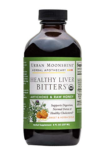 Urban Moonshine Healthy Liver Bitters | Organic Herbal Supplement for Digestion, Detox & Healthy Cholesterol Support | Artichoke & Raw Honey | 8 FL OZ (Pack of 2)