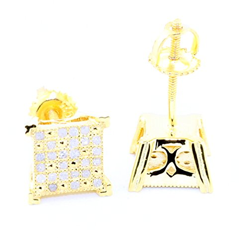 Princess Cut Shaped Stud Earrings 0.2ct Diamond Gold Plated Silver 8mm Wide