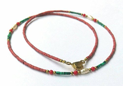 Brown Malachite (Natural Afghanistan Tiny Brown Opal Seed Beads, Malachite, Coral, Pearls, Brass Beads Necklace 17.7 inches)