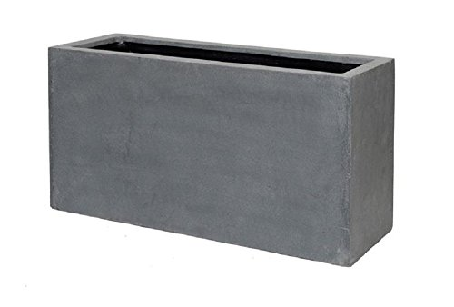 Grey Rectangle Planter Box Fiberstone - Indoor Outdoor Planter Pot - 16